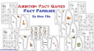 Addition Fact Activities: Fact Families Worksheets and Game Boards ...