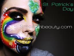 st patrick s day face paint eye makeup tutorial rainbow pot of gold lips shamrock