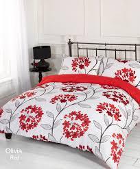 duvet quilt cover bedding set red white single double king kingsize super king