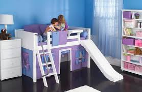 Maxtrix Loft Bed For Girls With Slide Play Curtains