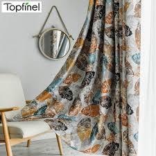 Topfinel Elegante Moderne Blätter Muster Blackout Fenster Vorhänge