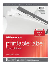 Office Depot Divider Templates Office Depot Brand Plain Dividers With Tabs And Labels White 5 Tab Pack Of 5 Sets