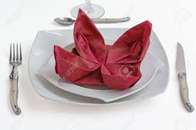Paper Napkin Folding Flower Garnet Paper Napkin Folding Flower On White Plate