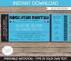 Concert Invite Template Rockstar Birthday Party Ticket Invitation Template Blue
