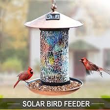 Solar Light Bird Feeder Solar Bird Feeder For Outside Hanging Solar Powered Garden