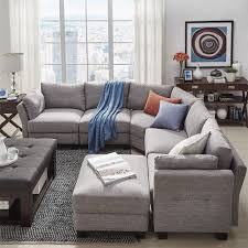 Elize U-Shaped 6-Seat Linen Fabric Modular Sectional Seating by iNSPIRE Q  Bold (Dark Grey Linen), Black