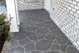 grey flagstone concrete stamped patio