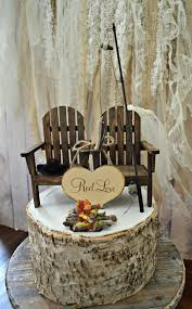 fishing themed wedding. Fishing camping themed wedding cake topper fishing pole camp fire