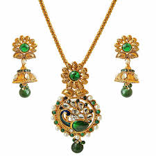 gold plated sets traditional peacock design green white stone shell pearl gold