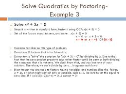 7 solve quadratics