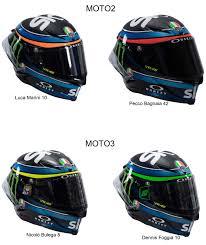 AGV Pista GP R Sky Racing Team VR46 Moto3 & Moto2 2018 | Nicolo Bulega #8  (Yellow), Dennis Foggia #10 (Green), Luca Marini #10 (Orange) and Pecco  Bagnaia #42 (R… di 2020