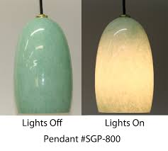 Small Picture Celadon Hand Blown Glass Pendant Light Artisan Crafted Home