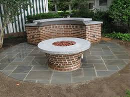 bluestone patio tapered brick fire ring base curved countertop support grill support with