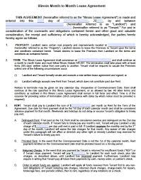 Month To Month Rental Agreement Template Free Illinois Month To Month Lease Agreement Template Pdf