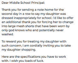 Letter To School Principle Moms Smartass Letter To Her Daughters Principal Over The Dress