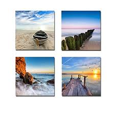 wieco art seaview modern seascape giclee canvas prints artwork contemporary landscape sea beach pictures to photo on amazon beach canvas wall art with amazon wieco art seaview modern seascape giclee canvas prints