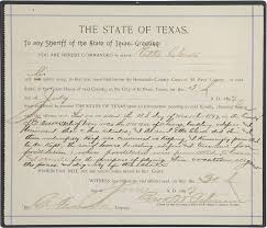 Sheriff's Warrant, Dated July 5, 1897, for the Arrest of El Paso Madam Etta  Clarke   Sheriff, Arrest, Dating