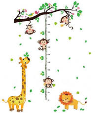 Monkey Growth Chart Wall Cartoon Monkey Climbing Giraffe And Lion Kids Growth Chart