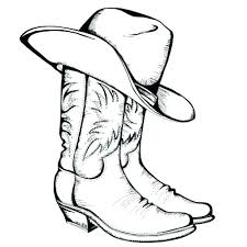 Cowboy Boot Coloring Page Hat Colouring