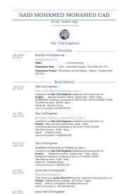 Site Civil Engineer Resume samples