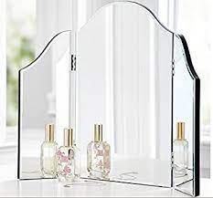 Amazon Com Trifold Vanity Makeup Mirror Bathroom Bedroom Dresser Table Countertop Folding Mirrored Glass Tri Fold Dressing Wing Mirror Portable Beveled Edge Venetian Style Home Improvement