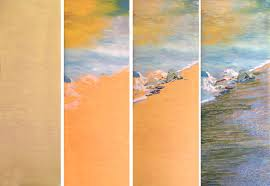the first four stages of the painting