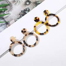 Fashion <b>Leopard Earring Exaggerated</b> Geometric Round Acetate ...