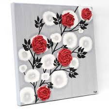 side view of wall art red rose branch on wall art red with red rose wall art painting on gray and black canvas small amborela