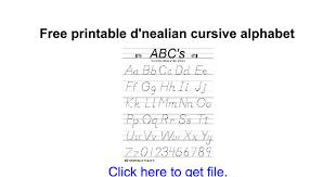 Free printable d'nealian cursive alphabet - Google Docs