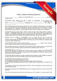 Free Printable Facility Or Stadium Advertising Agreement | Sample ...