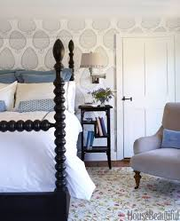 Katie Ridderu0027s Leaf Wallpaper Is The First Thing I Noticed (love That  Wallpaper), But I Also Love The Black Spindle Bed. Itu0027s The Focal Point Of  The Room ...