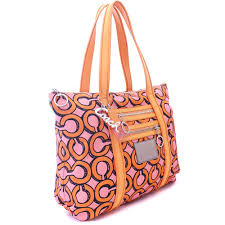 COACH coach poppy 3D op art gram tote bag Lady s orange pink canvas patent  leather 14983