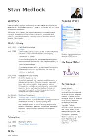 Quality Analyst Resume Samples Visualcv Resume Samples Database