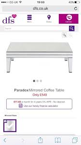 brand new dfs mirrored coffee table