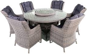 knightsbridge grey rattan dining set with glass top 110cm round with 6 dining chairs