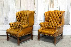 yellow wingback chair pair of vintage tufted chair tan ikea yellow wingback chair