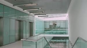 Z Empty Modern Office Hallway Vertical Panning Shot