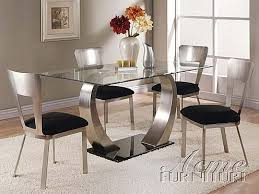 glass dining table set. Acme Furniture 8MM Clear Glass Dining Table 5 Piece 10090 Set E