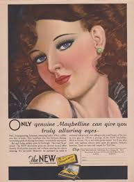 a maybelline mascara ad from 1932 shows off the makeup look of the 1930s