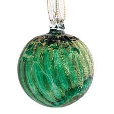green large round stripe bauble w gold leaf