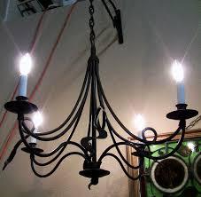 vintage american sturbridge style 4 arm cast iron chandelier 3