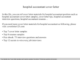 Sample Healthcare Cover Letter Hospital Accountant Cover Letter