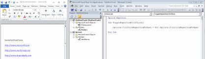 split screen of doent and visual basic editor