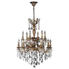 bronze and crystal chandelier. Worldwide Lighting Versailles 18-Light Antique Bronze Crystal Chandelier And E