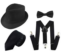 Black Tie Theme 1920s Men Accessory Set Manhattan Hat Y Back Suspenders Pre Tied Bow Tie Gangster Tie Theme Party For Halloween