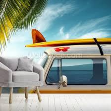 surf board camper van wall mural