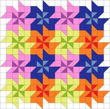 120 best Triangulos images on Pinterest | Patterns, Beginners ... & Tessellating flower quilt block pattern with movement. No curved seams,  looks like sq and half-sq triangles Adamdwight.com