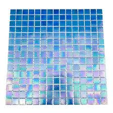 urbn contemporary deep ocean blue iridescent glass mosaic tile for kitchen and bath one box
