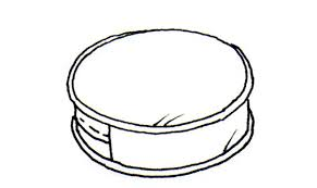 pillow line drawing. round box edge pillow line drawing
