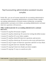 Top 8 Accounting Administrative Assistant Resume Samples